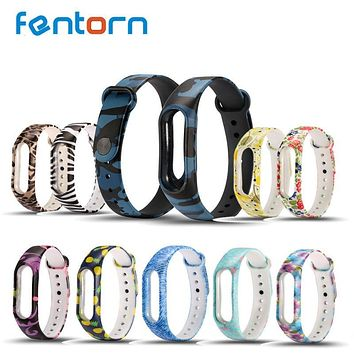 Silicone Strap Band Camouflage Band Replacement For Xiaomi Mi Band 2 Smart Band Bracelet Strap Multicolors