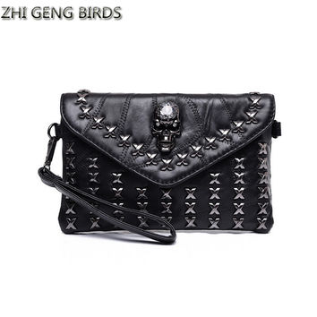 ZHI GENG BIRDS Rivet Envelope Bag Ladies Retro Shoulder Women Bag Skull Clutch Crossbody Casual Purse Handbag Messenger Bags