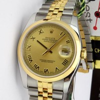 Rolex Datejust Yellow Gold & Steel Champagne Roman 116203 Jubilee - WATCH CHEST