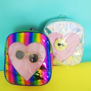 Backpacks ForTeenage Girls Holographic Backpack For Women Silver Bookbags Sac a Dos Femme Holographic Travel Bag Rainbow BPK166