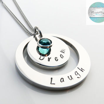 Birthstone Hand Stamped Pendant  Necklace  - Mum Present - Gifts for Women - Gift for Best Friend