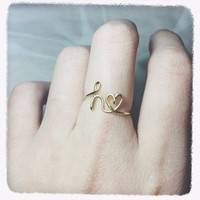 Christmas Sale!Coupon Code 20OFF! gift initial heart ring/letter heart ring/initial letter heart ring/wire knuckle ring/stack midi gold ring