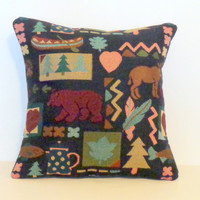 Two 16x16 Bear & Moose Pillow Covers