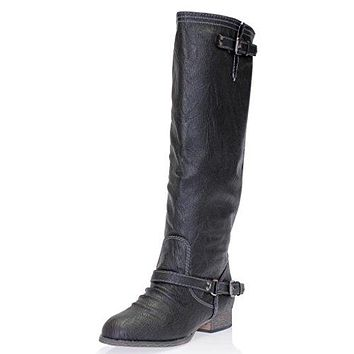 Women's Outlaw-11 Knee High Ankle Strap Tall Riding Boots