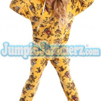 Tasmanian Devil Adult Footed Pajamas Footie Hoodie PJs One Piece Adult Pajamas - JumpinJammerz.com