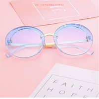 2018 Candy Colored Sunglasses Women Round Sun Glasses Yellow Blue Pink Transparent Eyewear Ladies Circle Sunglass