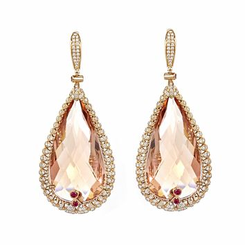 114.57tcw Pear Morganite with Diamonds   Ruby in 18K Rose Gold D e1d0319cf939