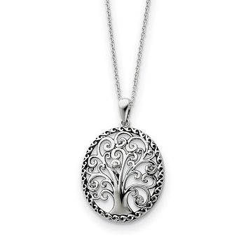 Rhodium Plated Sterling Silver & CZ Tree of Life Necklace, 18 Inch
