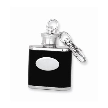 Black Faux Leather Stainless Steel Key Ring Flask - Engravable Gift Item