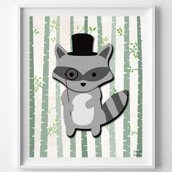 Animal Nursery Print, Woodland Raccoon, Raccoon Art, Wall Art, Animal Nursery Decor, Hipster Raccoon, Baby Room Poster, Christmas Gift