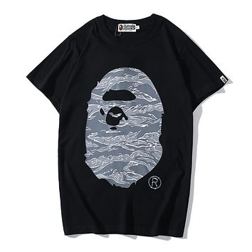 Bape Aape Fashion New Camouflage Pattern Print Women Men Top T-Shirt Black