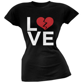 Love Broken Heart Black Soft Juniors T-Shirt