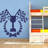 Wall Vinyl Sticker Decal Cup and Checkered Flags Nursery Room Nice Picture Decor Mural Hall Wall Ki759