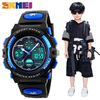 SKMEI Fashion Kids LED Digital Watches for Boys Girl Sport PU Wristwatches Smart Watch Children Waterproof Watches Montre Enfant