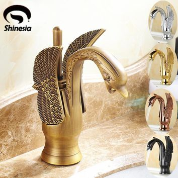 Antique Brass Swan Shape Bathroom  Basin Sink Faucet  One Hole Traditional Style Mixer Tap  Deck mounted