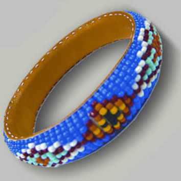 Beaded Bangle Indian Native American Blue Bracelet