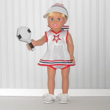 American Girl Doll Clothes Red/ White and Blue Tennis Dress with Visor and Tennis Racket fits 18 inch dolls