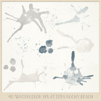 Watercolor clipart splatter splashes (40) beige greyish blue natural. hand painted overlays scrapbook design blogs cards printables wall art
