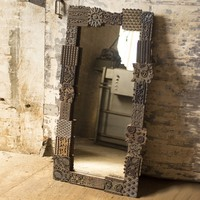 Large Repurposed Print Block Mirror