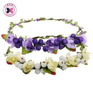 Haimeikang Hair Bands for Women Girls Fashion Hair Flower Bezel Beach Crown Wreath Headband Hair Accessories 12 Colors Headwear