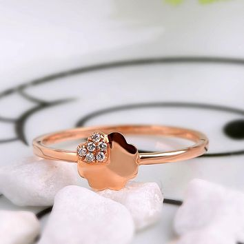 Robira Diamond Wedding Ring 14K Gold Ruby Rings For Women Clover Flower Design Gemstone Fine Jewelry Anniversary Gift