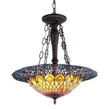 "CAMILA Tiffany-style 3 Light Inverted Ceiling Pendant 22"" Shade"