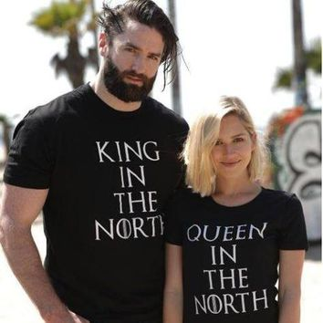 Cool Game of Thrones King Queen in the North T Shirts Valentine Men Women Couple Clothes Lovers T-Shirts Funny Tshirts Geek Tops TeesAT_93_12