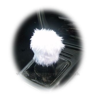 Pretty White fuzzy faux fur Gear knob stick shift cover