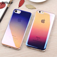JAMULAR Blue Ray Transparent Case For iPhone 8 7 Plus Cover Cases Clear Gradien Hard Phone Case For iPhone 6S 6 Plus Capa