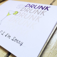 Funny Apology Card Let's Get Drunk... I'm Sorry// Martini Greeting Card// Friends// Siblings