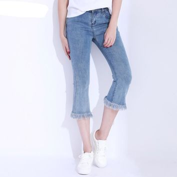 Denim Pants Women Tassel Flare Jeans Summer Slim High Waist Jeans Elastic Calf Length Jean