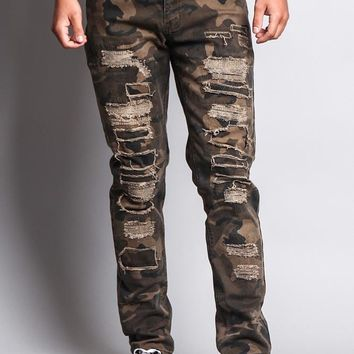 Men's Heavy Distressed Camo Jeans DL1130 - O7E