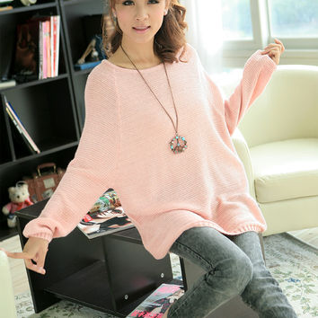 Crew Neck Oversized Batwing Slouchy Knitted Shirt Jumper Loose Sweater Top Z