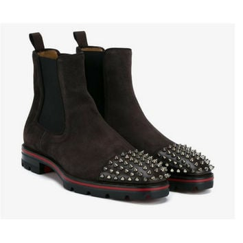 CHRISTIAN LOUBOUTIN Brown Melon Leather and Suede Spike Boots