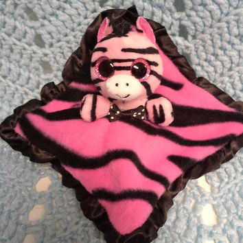 Bitty baby zebra baby doll lovey blankie blanket hot pink ty beenie boo  security blanket  F6