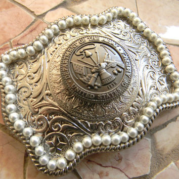 Army Silver Concho Belt Buckle, Western Womens Pearl Engraved Military Belt Buckle, US Army Wife Girlfriend ,Army Belt, Bridesmaid Gift