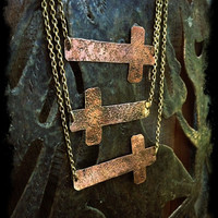Sideways Cross Necklace Hipster Jewelry Long Necklace