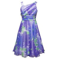 Size-7 RRE-59832E PURPLE GREEN ASSYMETRIC ONE-SHOULDER FLORAL MESH OVERLAY Special Occasion Flower Girl Easter Party Dress,E459832 Rare Editions 7-16