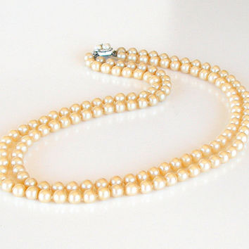 Vintage Pearl Necklace Double Strand Hand Knotted Glass Pearls 1940s