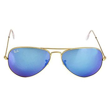 Ray-Ban Aviator Large Metal Sunglasses RB3025- Matte Gold Frame, Crystal Blue Mirror RB3025-112-17-58  Ray Ban