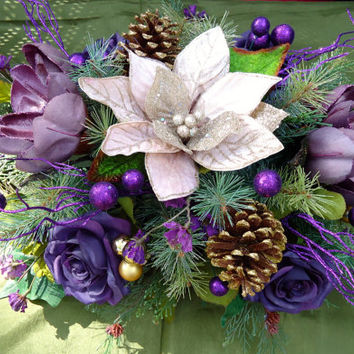 Christmas Floral Table Arrangement, Dinning Table Centerpiece, Christmas Centerpiece,Winter Arrangement, Christmas Dinning Table, Winter
