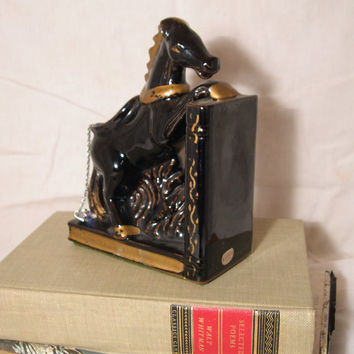 black Art Deco ceramic Horse bookend, vintage equestrian Figurine by RELCO