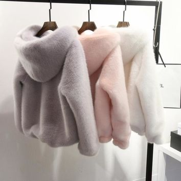 10 Color Winter New Faux Mink Long Sleeve Women Fur Coat Hooded Zipper Classic Generous Golden Ratio Warm Practical Fur Jacket