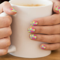 Fun Funky Pink Blue Cream Geometrical Patterned Minx ® Nail Wraps