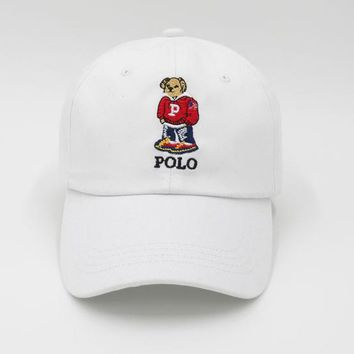 White Polo Bear Embroidered Baseball Cap Hat