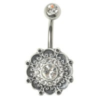 14G Steel CZ Filigree Border Navel Barbell