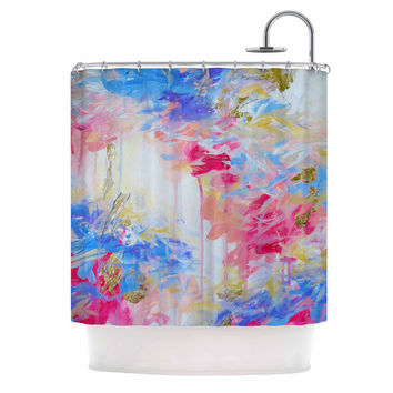 "Ebi Emporium ""Whispered Song 1"" Blue White Shower Curtain"