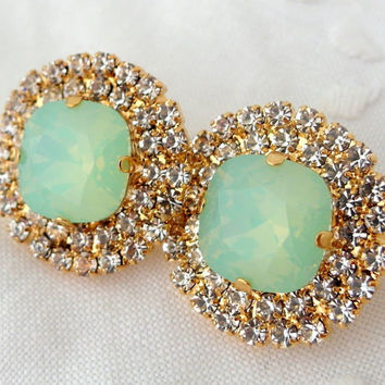 Mint green opal and clear crystal rhinstones stud earrings, Bridesmaids gift, Bridal stud earrings, Swarovski large estate stud earrings