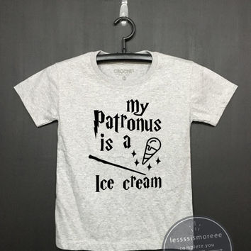 My patronus is a ice cream - Harry potter Kids Shirt - Girls Clothing- Funny Birthday, Kid Shirt, little girl, hipster kids, Flock printing