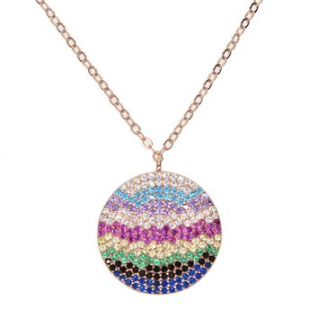 2018 Fashion colored cz round pendant necklaces multi color CZ lovely classic simple girl women rose gold color rainbow necklace